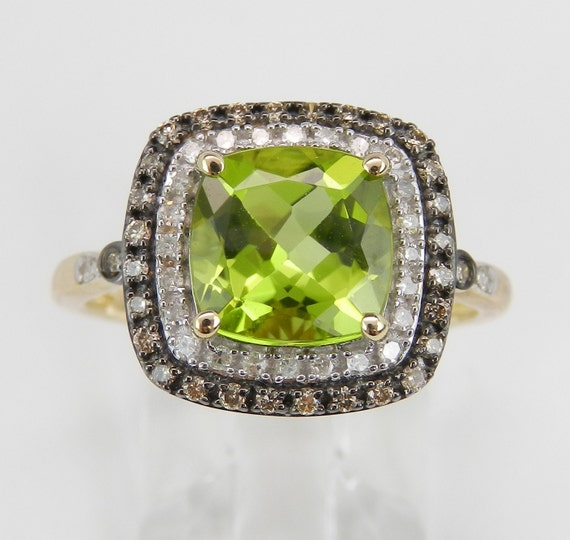 Peridot and Cognac Diamond Halo Engagement Promise Ring Yellow Gold Size 7.25 August Birthstone