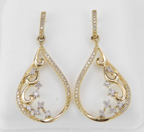 Diamond Earrings Yellow Gold Chandelier Dangle Drop Wedding Earrings Great Gift