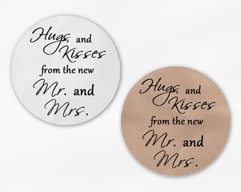 Hugs and Kisses From the New Mr. and Mrs. Wedding Favor Stickers - Black Custom Round Labels (2015)