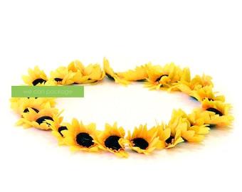 Small Artificial Sunflower Heads | Flower Crown DIY Supplies | Bohemian Wedding Decorations | Pack of 24