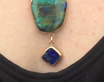 BLUE and GREEN! Azurite-Malachite and Lapis Lazuli Gold-filled Open Bezel-set Necklace