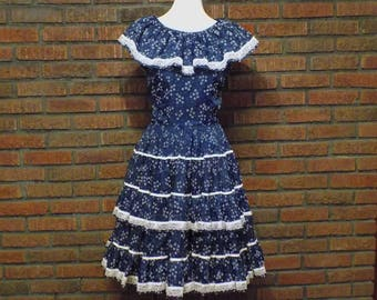Vintage 60s Nita Smith Navy Blue Square Dance Dress with Full Circle Skirt Women's S / Size 4