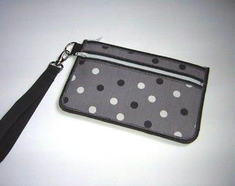 Discrete Purse fit iPhone 7 Plus Wristlet with zipper pocket Cute Smartphone Case Cell Phone Purse fabrics gray white dots