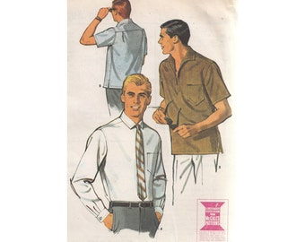 1960s Mens Shirt Pattern Size Large Chest 42-44 McCall's 7909 Pullover or Button Up Shirt Sewing Pattern
