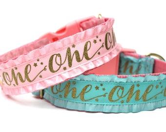 "Birthday Dog Collar 1.5"" Aqua or Pink Dog Birthday Collar"