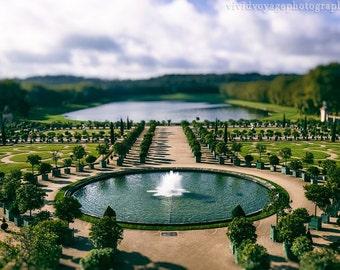 Versailles Photo, Landscape Art, Tilt Shift Photography, French Garden, Symmetry Art, Tree and Lake Photo, Blue Green Home Decor, Wall Art