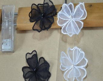 """20pcs 6.5cm 2.55"""" wide black/ivory flower mesh beads embroidered clothes dress appliques patches T12C45N0329T free ship"""