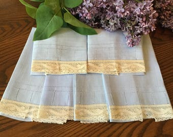 Hand Towels 6 Blue Linen Madeira Linen Hand Stitched Lace Trim Drawnwork Finger Tip Towels or Napkin Set Vintage Linens