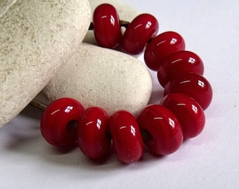 Berry Red, Lampwork Spacer Beads, SRA, UK