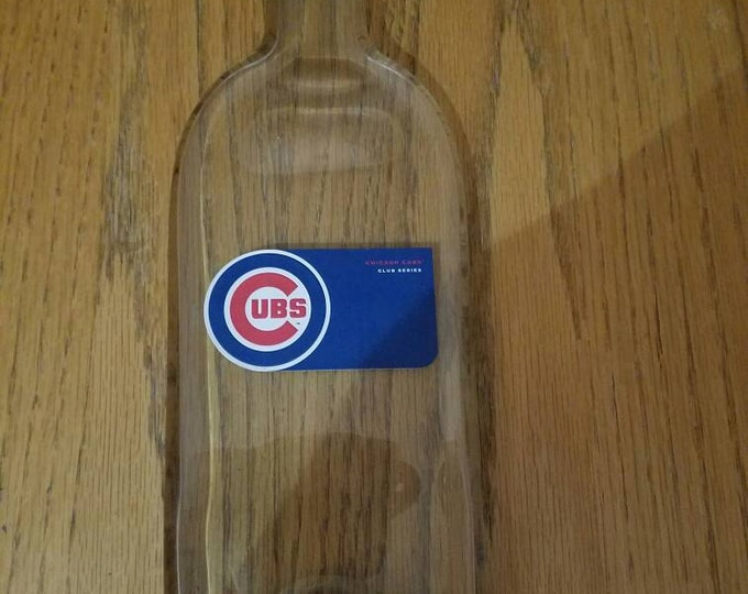 CUBS Wine bottle melted flat to hang on the wall. One of a kind