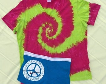 Peace of Ass tie dye Jammies t-shirt size XL/undies boy short size 7