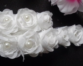 1 1/8 inch wide Chiffon Rose Pearl Trim white color select 1 yard or 0.5 yard