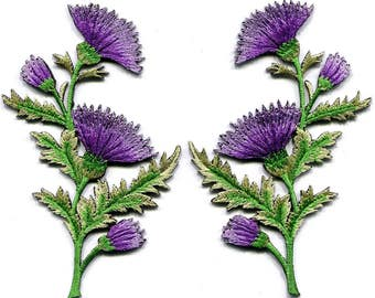 Lavender carnation  flowers  applique iron-on patches price for 1 pc select right or left