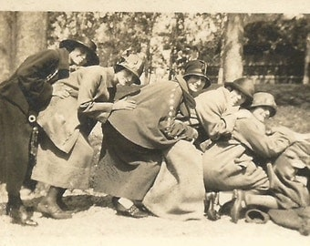 """Vintage Photo """"Girlfriends"""" 1910's Victorian Edwardian Hats Coats Shoes Found Photo Small Snapshot"""