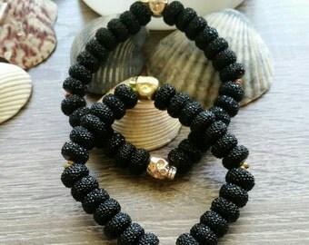 Dark Side Skull Bracelet  (black, gold, and rose gold)