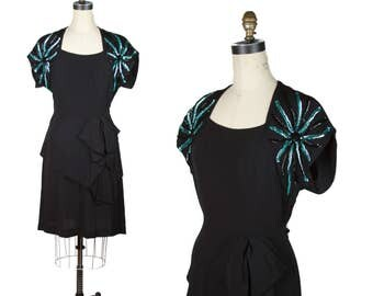 1940s Dress // Turquoise Rays Sequin Black Rayon Dress
