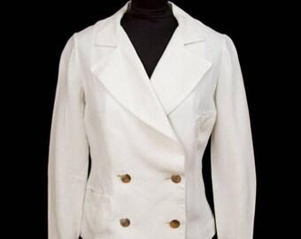 WEEKEND SALE 1930s Jacket // White Linen Resort Double Breasted Seaside Jacket