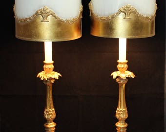 Gorgeous Vintage, Pair of L&L, Hollywood Regency, Gold Gilded Table Lamps with Gilded Shades