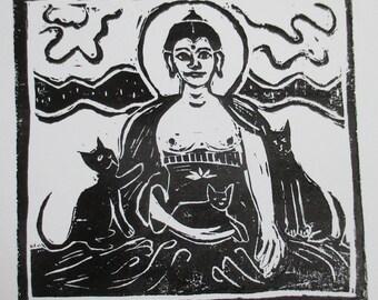 Buddha with three black cats art print lino cut woodblock print cat print Buddha print