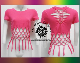FABULOUS FRILLS 2 - Juniors / Womens Cut, Weaved and Tied Hot Pink Top - Yoga Wear, Festival Wear, Club Wear, Beach Wear