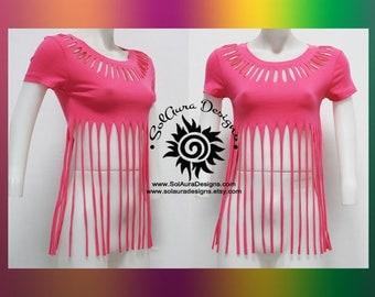 FLIRTY FRILLS 2 - Juniors / Womens Cut and Weaved Beautiful Hot Pink Top - Yoga Wear, Festival Wear, Club Wear, Beach Wear