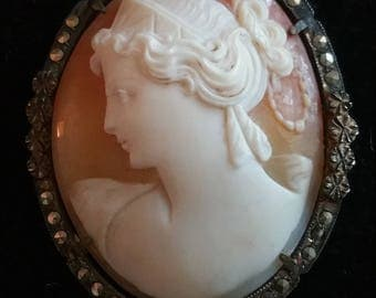 Antique Silver Carved Shell Cameo Pin or pendant Marcasite