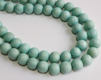 Seafoam Blue wood beads round 11-12mm full strand eco-friendly Cheesewood 9485NB