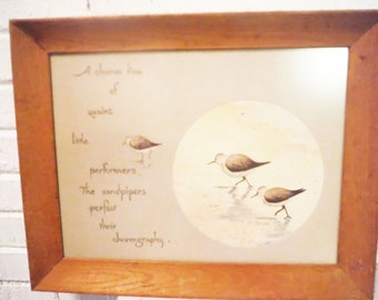 Vintage sandpiper watercolor painting poem framed beach art birds