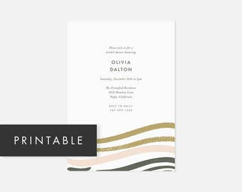 Minimalist Invitation Printable / Modern DIY Invite / Brush Strokes / Pink and Green / Bridal Shower, Baby Shower, Engagement Party