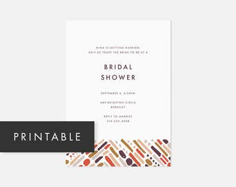 Simple Printable Invitations / Minimalist Modern Invite / Bold Pattern / Pink / Bridal Shower, Baby Shower, Engagement Party, Graduation