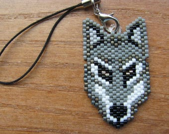 Hand Beaded Grey Wolf cell phone charm