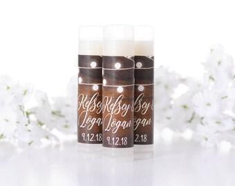 Custom Wedding Favors - Wedding Lip Balms - Wedding Chapstick Favors - Wedding Lip Balm Labels- Lip Balm Stickers and Tubes - Rustic Wedding
