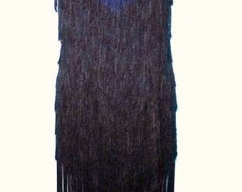 """MEMORIAL DAY SALE 60s Vintage Black Fringed Flapper Chemise Dress-Size 4-Small-36"""" Bust-Party Prom Evening-Gatsby"""