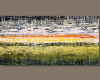 FREE SHIP abstract painting, modern art abstract panoramic painting, abstract landscape, abstract field, sunrise, sunset, expressionism