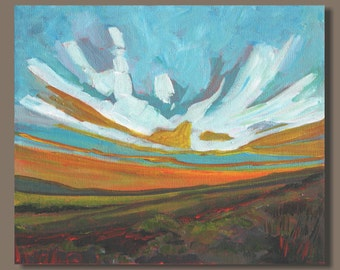 semi abstract painting, landscape painting, prairie sunset abstract art, small canvas art, small paintings, small art orange blue