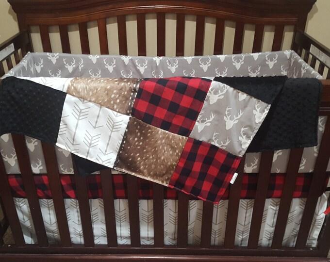 Featured listing image: Woodland Boy Crib Bedding- Gray Buck, Deer Skin Minky, White Gray Arrow, Red Black Buffalo Check, and Black Crib Bedding Ensemble