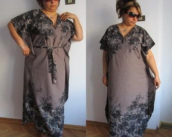 Muumuu, Maxi Dress, One Size Dress Kaftan, Long Caftan, Cover up, Summer Dress, Full Length Kaftan, Black Brown Dress With Belt shabby chic