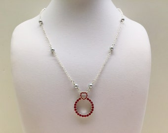 Red and Grey Choker Necklace