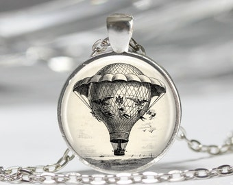 Steampunk Jewelry Steampunk Airship Necklace Glass Pendant Hot Air Balloon Necklace Glass Photo Pendant