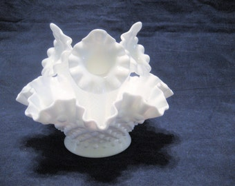 Fenton White Hobnail Epergne Vintage 1960s Milk Glass Vase, Centerpiece