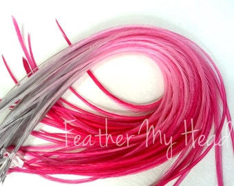"Feather Hair Extensions - Multi Color Medium Length 7"" - 9"" (18-23cm) Long - 5 Pc - Grey Pink - Tickled Pink"
