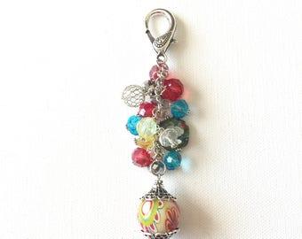 Red Purse Charm, Purse Bling, Zipper Pull, Handbag Accessories, Detachable Keychain, Planner Charm