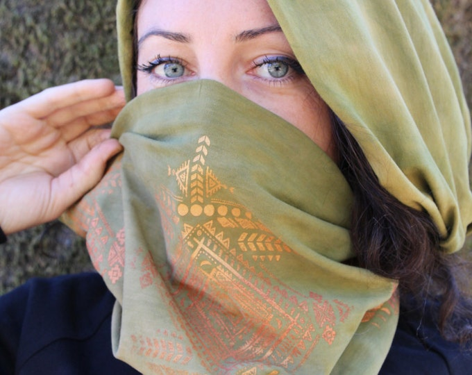 Olive Tribal MOONS Infinity Scarf - Organic BAMBOO SCARF