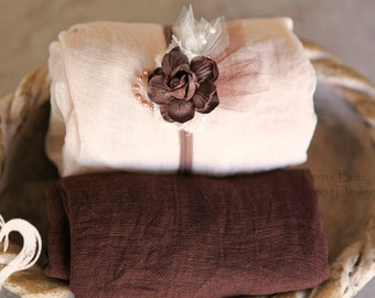 3 Piece Simply Rustic Browns Creams Headband Size Choice Swaddle Newborn Prop Wrap W Coordinating in Neutral Ivory Earthy Tones