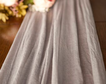Dove Gray Gauze Cheesecloth Table Runner Weddings Special Events Centerpiece Decor Hand Dyed Cotton Scrim Cheesecloth Runner Length Choice