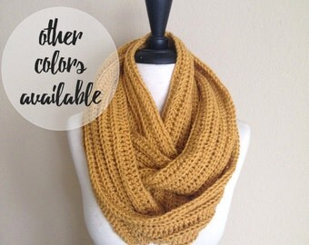 Mustard Infinity Scarf, Knitted Circle Eternity Cowl / Autumn Sungold / Vegan Yarn / Made-To-Order