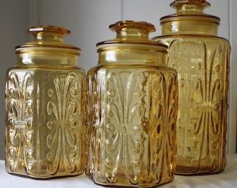 Vintage Amber Glass Canister Set - 3 Piece Jar Set - Imperial Glass - Atterbury Scroll - Retro Kitchen - Apothecary Jars - Storage Jars