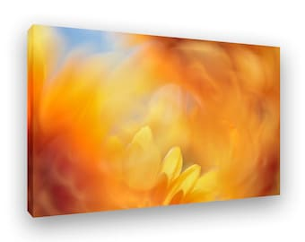 Floral Canvas Artwork, Warm Colorful Abstract Artwork, Modern Home Decor, Yellow, Orange, Flower, Gallery Wrap, Ready To Hang Wall Art