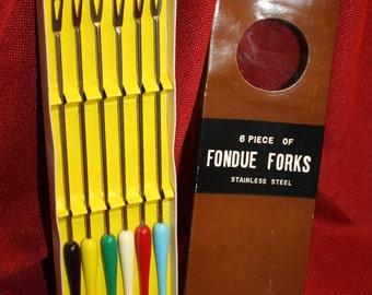 Six Piece Set of Fondue Forks, Stainless Steel / Plastic Handles, Original Box, Midcentury