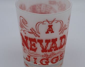 A Nevada Jigger, Extra Large 16 Ounce, Souvenir of Las Vegas, Golden Nugget Scenes, Perfect